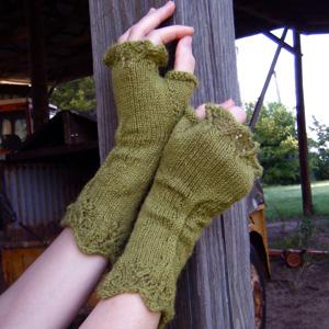 Bittersweet Greens Fingerless Gloves